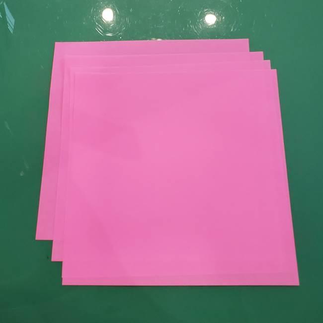お月見の折り紙「うさぎの餅つき」簡単なリースの折り方作り方②うさぎ(1)