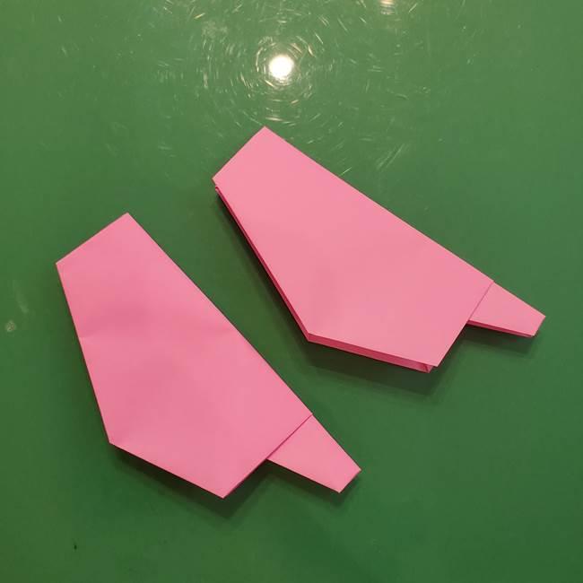 お月見の折り紙「うさぎの餅つき」簡単なリースの折り方作り方②うさぎ(3-2)