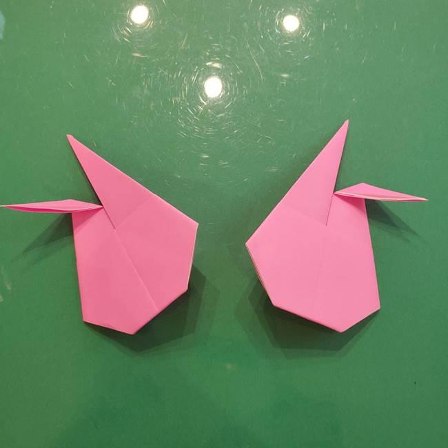 お月見の折り紙「うさぎの餅つき」簡単なリースの折り方作り方②うさぎ(3)