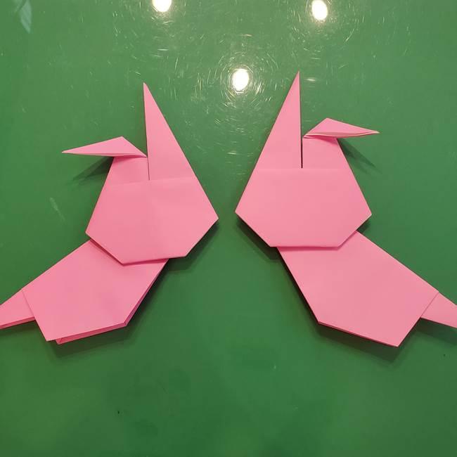 お月見の折り紙「うさぎの餅つき」簡単なリースの折り方作り方②うさぎ(4)