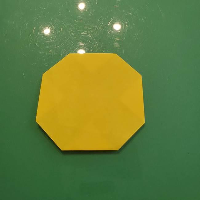 お月見の折り紙「うさぎの餅つき」簡単なリースの折り方作り方③月(3)