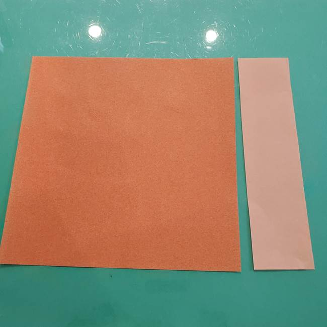 お月見の折り紙「うさぎの餅つき」簡単なリースの折り方作り方④杵と臼(1)