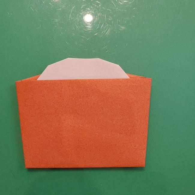 お月見の折り紙「うさぎの餅つき」簡単なリースの折り方作り方④杵と臼(4)