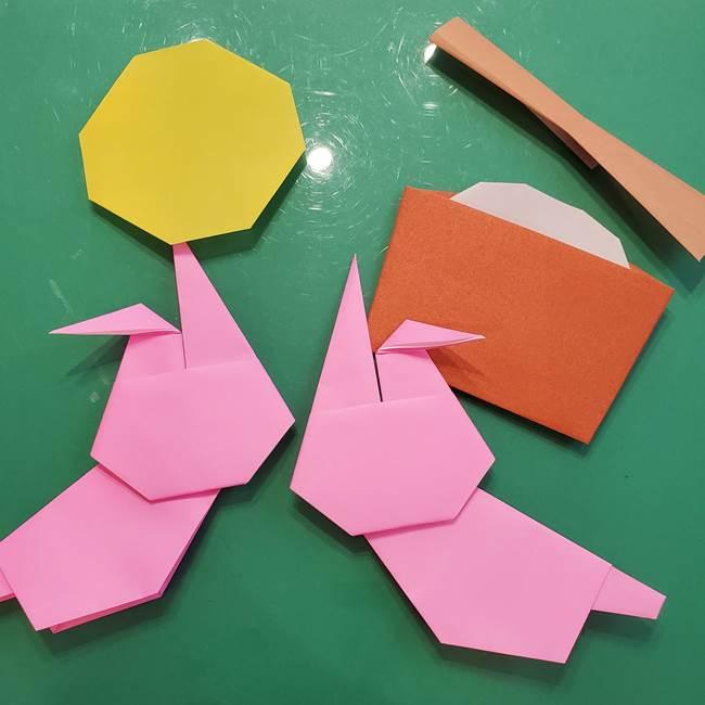 お月見の折り紙「うさぎの餅つき」簡単なリースの折り方作り方⑤完成(1)