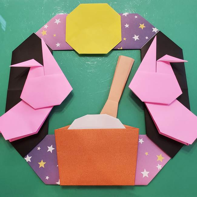 お月見の折り紙「うさぎの餅つき」簡単なリースの折り方作り方⑤完成(2)