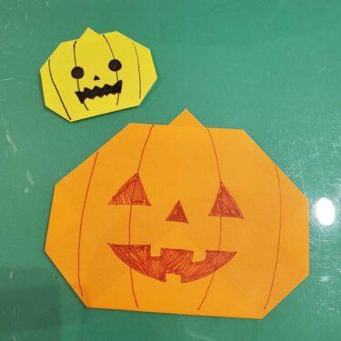 かぼちゃの折り紙 簡単に3歳児から折れる折り方作り方!2歳児も挑戦♪