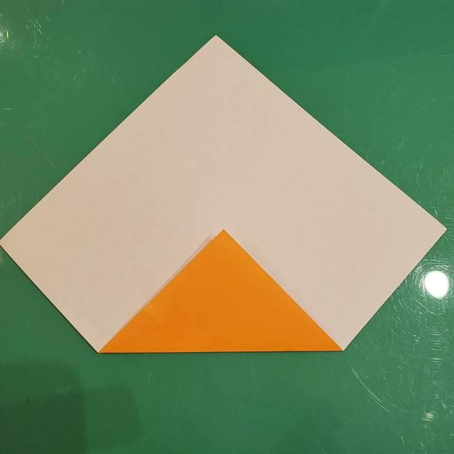 かぼちゃの折り紙 簡単に3歳児も折れる折り方作り方①折り方(2)