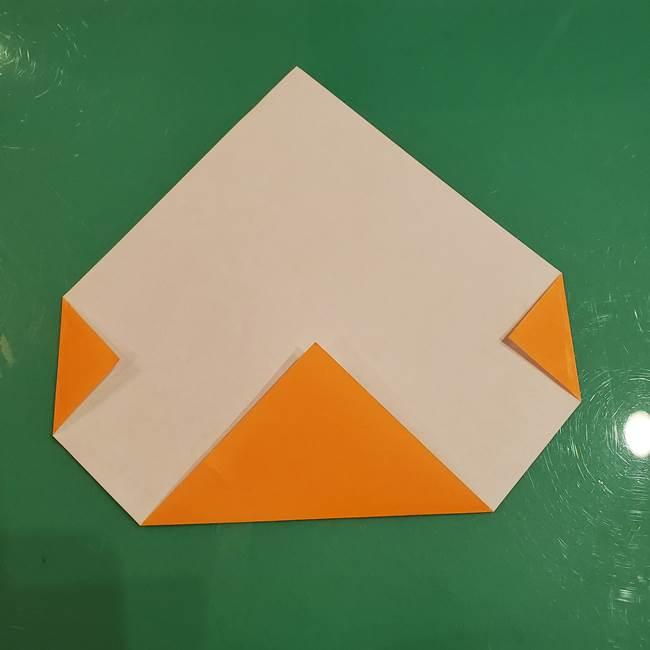 かぼちゃの折り紙 簡単に3歳児も折れる折り方作り方①折り方(3)