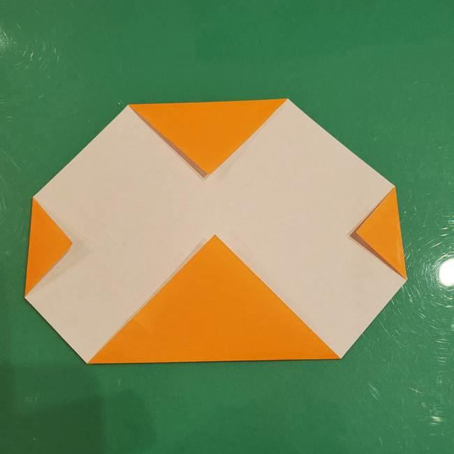 かぼちゃの折り紙 簡単に3歳児も折れる折り方作り方①折り方(4)