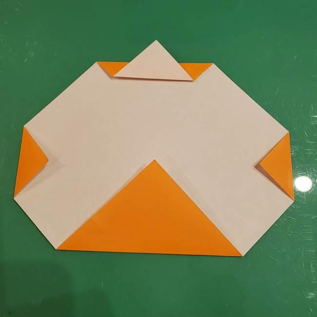 かぼちゃの折り紙 簡単に3歳児も折れる折り方作り方①折り方(5)