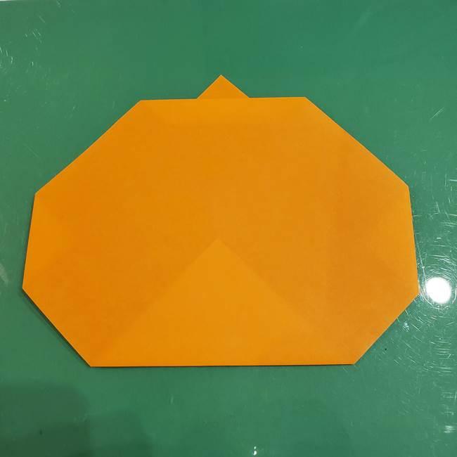 かぼちゃの折り紙 簡単に3歳児も折れる折り方作り方①折り方(6)