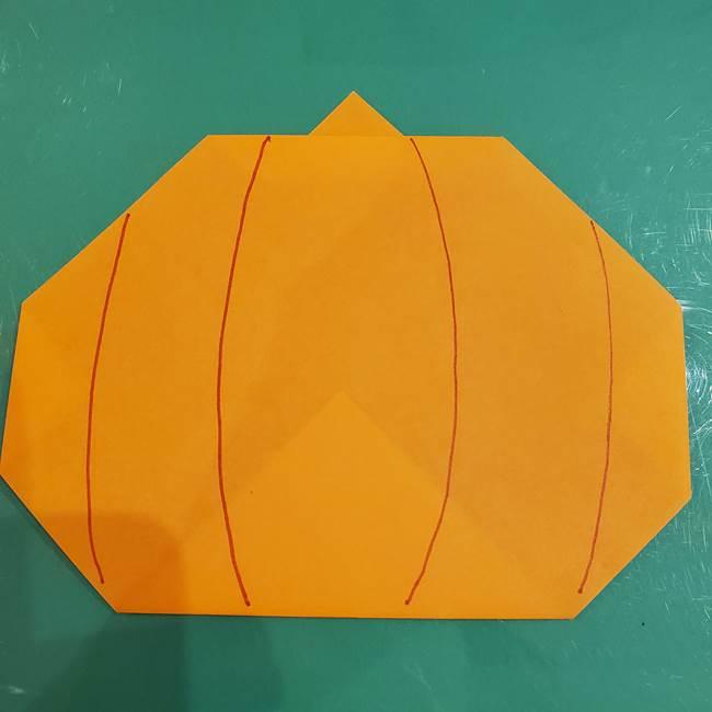 かぼちゃの折り紙 簡単に3歳児も折れる折り方作り方②顔の描き方(1)