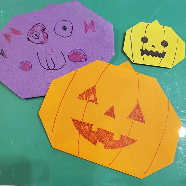 かぼちゃの折り紙は簡単!3歳児だけでなく2歳児から挑戦できる?