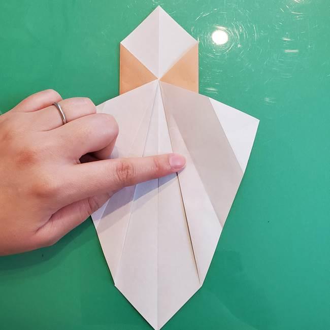 たぬきの折り紙の簡単な折り方作り方(体と顔)①(12)