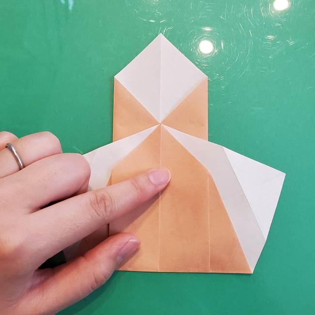 たぬきの折り紙の簡単な折り方作り方(体と顔)①(13)