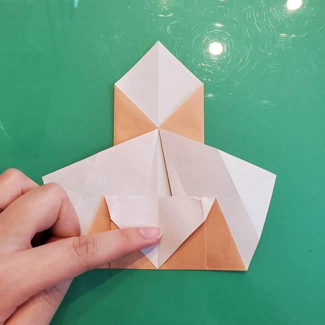 たぬきの折り紙の簡単な折り方作り方(体と顔)①(14)