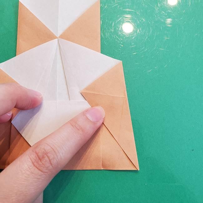 たぬきの折り紙の簡単な折り方作り方(体と顔)①(15)