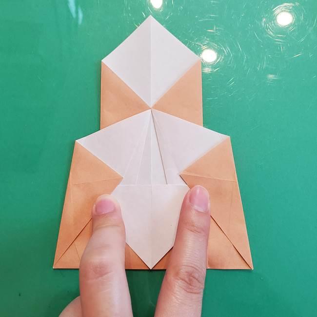 たぬきの折り紙の簡単な折り方作り方(体と顔)①(16)