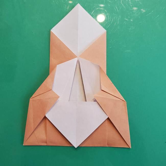 たぬきの折り紙の簡単な折り方作り方(体と顔)①(18)