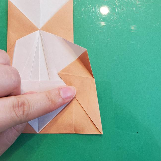 たぬきの折り紙の簡単な折り方作り方(体と顔)①(19)