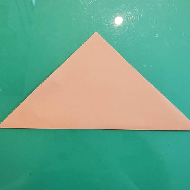 たぬきの折り紙の簡単な折り方作り方(体と顔)①(2)