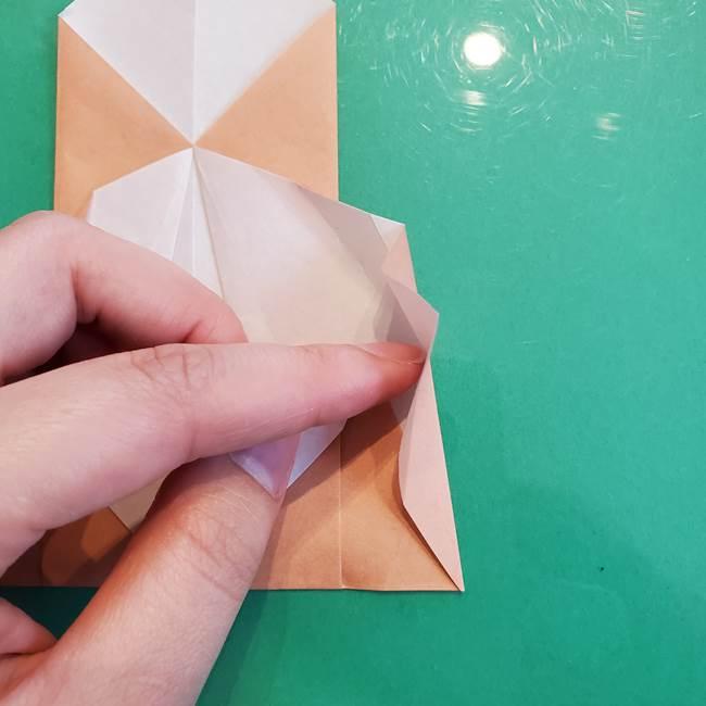 たぬきの折り紙の簡単な折り方作り方(体と顔)①(20)