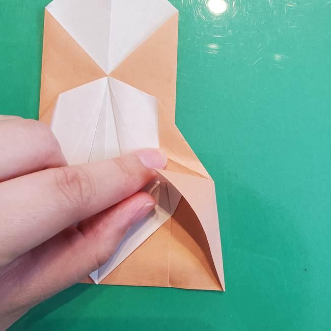 たぬきの折り紙の簡単な折り方作り方(体と顔)①(21)