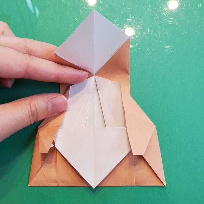 たぬきの折り紙の簡単な折り方作り方(体と顔)①(25)