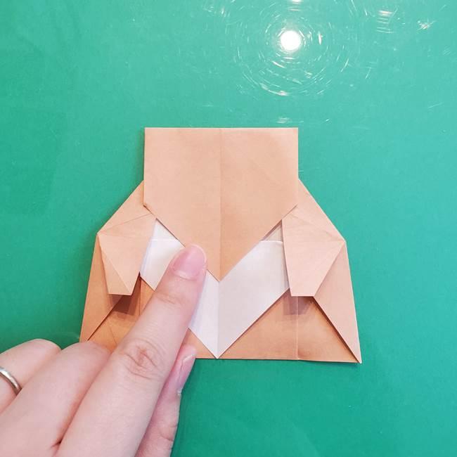 たぬきの折り紙の簡単な折り方作り方(体と顔)①(26)