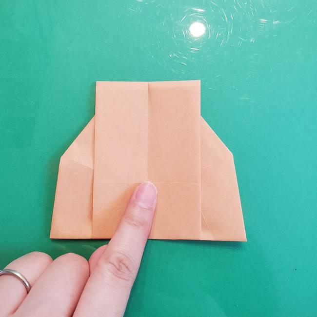 たぬきの折り紙の簡単な折り方作り方(体と顔)①(27)