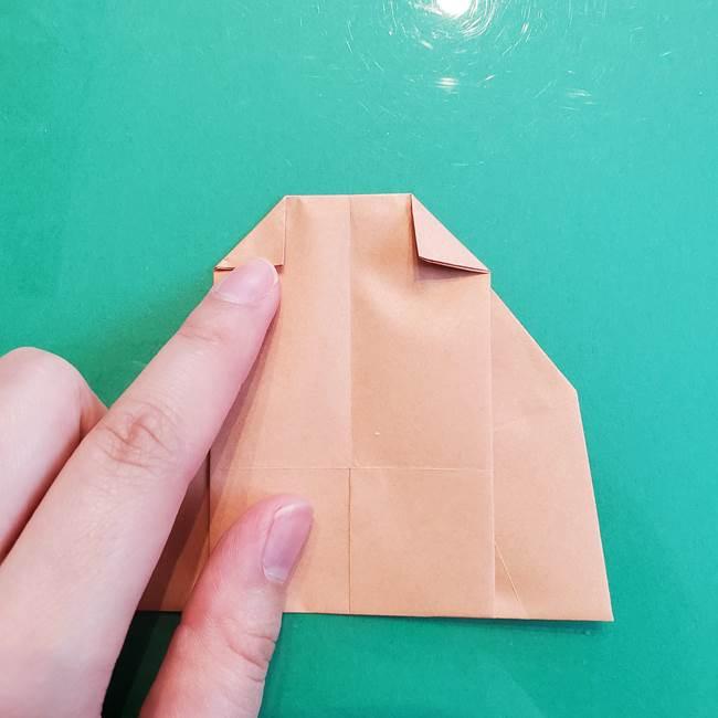 たぬきの折り紙の簡単な折り方作り方(体と顔)①(28)