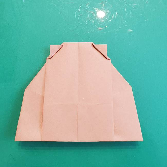たぬきの折り紙の簡単な折り方作り方(体と顔)①(29)