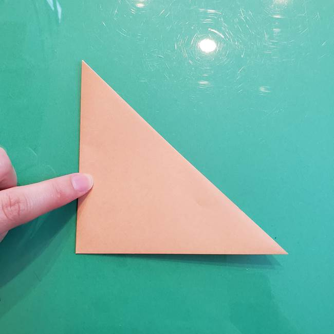 たぬきの折り紙の簡単な折り方作り方(体と顔)①(3)