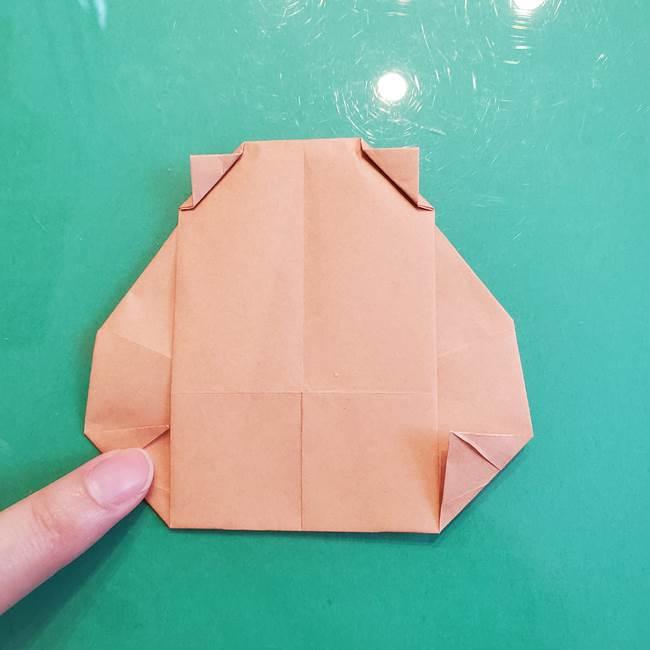 たぬきの折り紙の簡単な折り方作り方(体と顔)①(30)