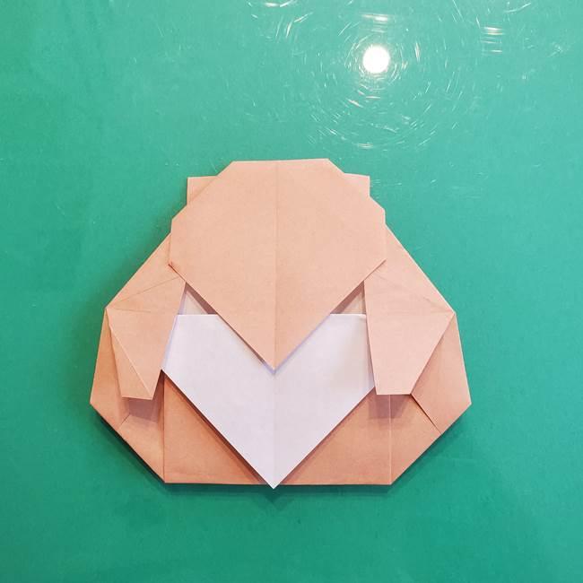 たぬきの折り紙の簡単な折り方作り方(体と顔)①(31)