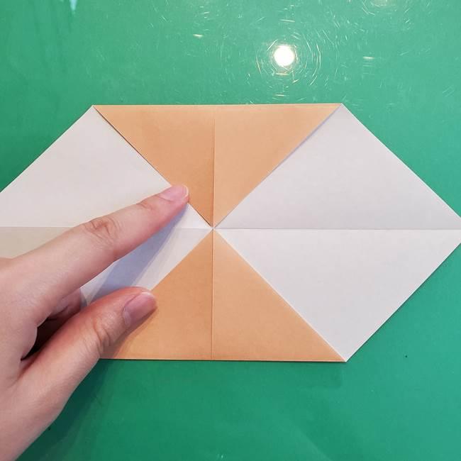 たぬきの折り紙の簡単な折り方作り方(体と顔)①(5)