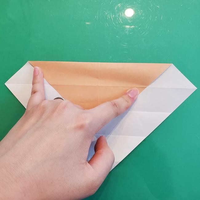 たぬきの折り紙の簡単な折り方作り方(体と顔)①(9)
