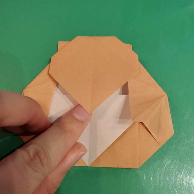 たぬきの折り紙の簡単な折り方作り方(体と顔)②(2)