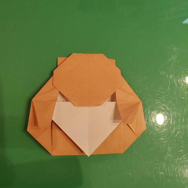 たぬきの折り紙の簡単な折り方作り方(体と顔)②(3)