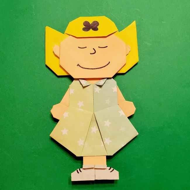 スヌーピーのサリー(全身)|折り紙の折り方作り方★簡単でかわいい女の子キャラクター