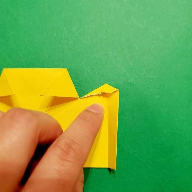スヌーピーの女の子サリー(全身)の折り紙*折り方作り方①髪の毛 (16)