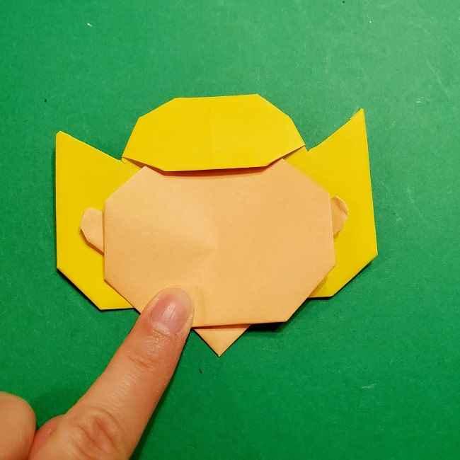 スヌーピーの女の子サリー(全身)の折り紙*折り方作り方①髪の毛 (22)