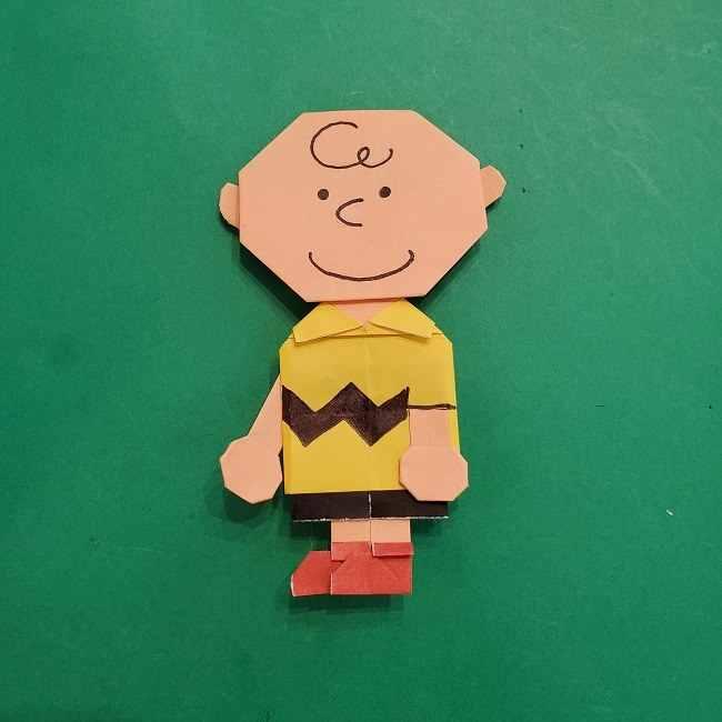 チャーリーブラウンの折り紙☆折り方作り方⑥完成 (7)