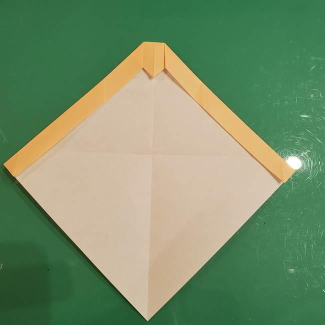 フクロウの折り紙★幼稚園児にも簡単な折り方作り方①折り方(10)