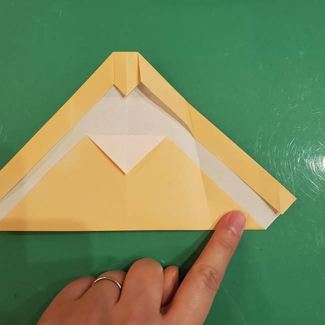 フクロウの折り紙★幼稚園児にも簡単な折り方作り方①折り方(14)