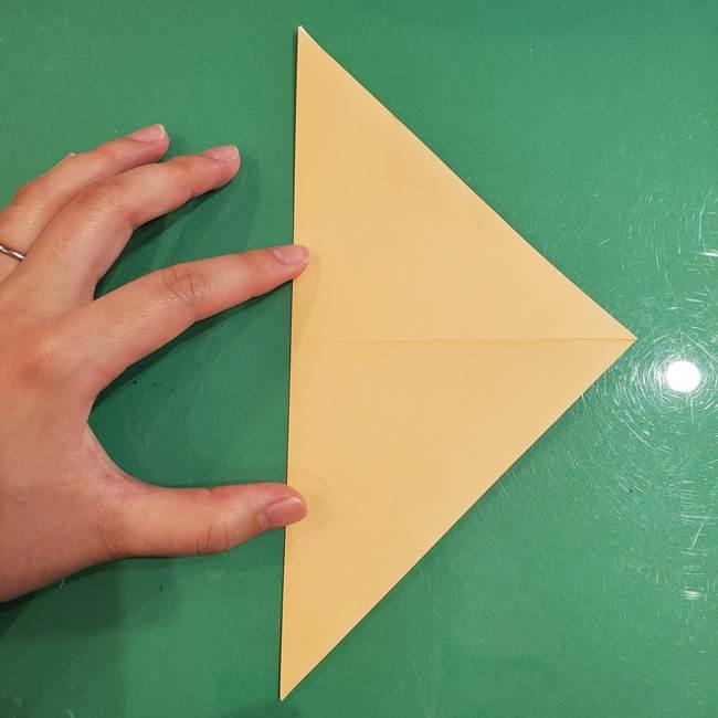 フクロウの折り紙★幼稚園児にも簡単な折り方作り方①折り方(4)