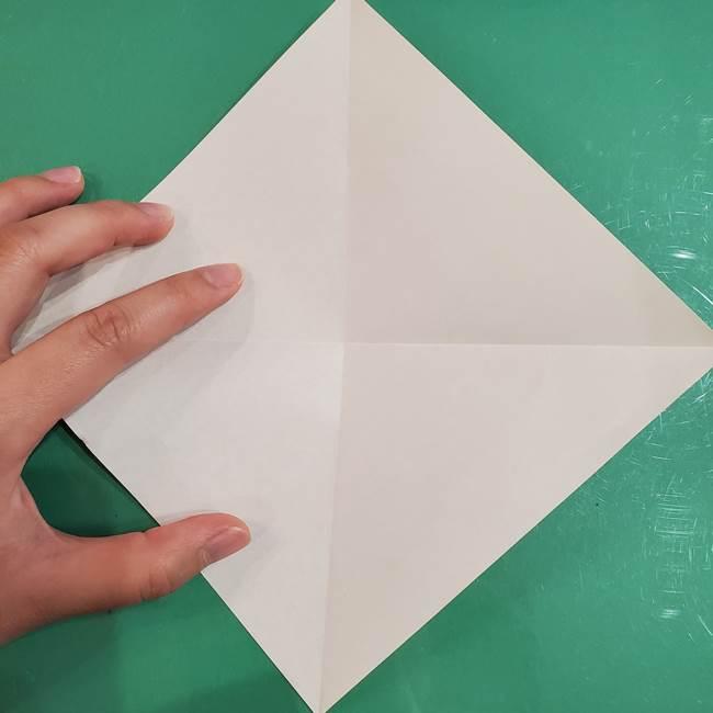 フクロウの折り紙★幼稚園児にも簡単な折り方作り方①折り方(5)