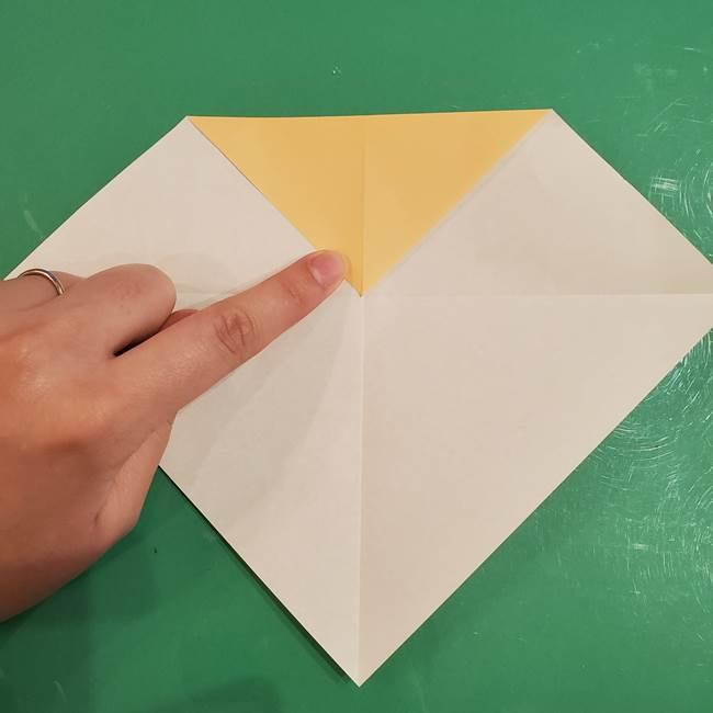 フクロウの折り紙★幼稚園児にも簡単な折り方作り方①折り方(6)
