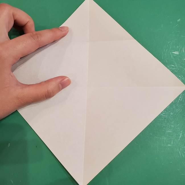 フクロウの折り紙★幼稚園児にも簡単な折り方作り方①折り方(7)