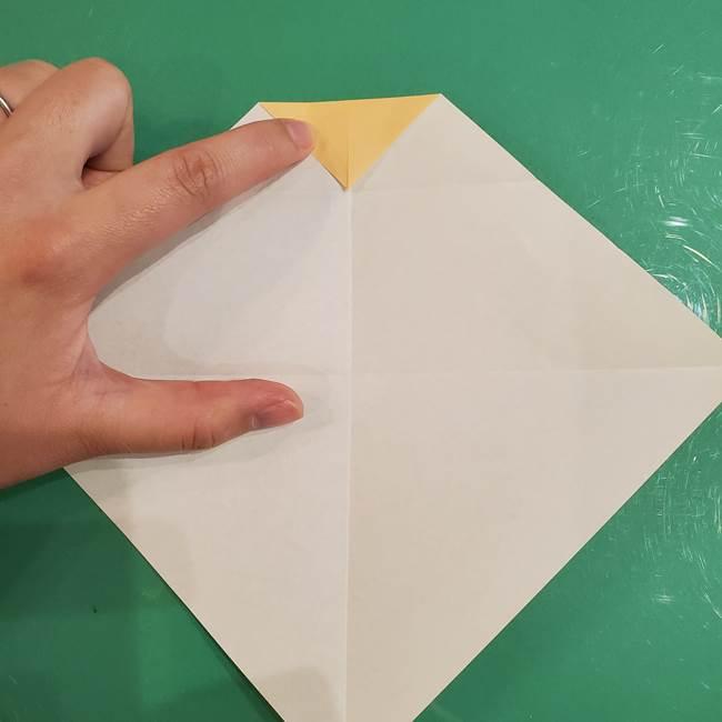 フクロウの折り紙★幼稚園児にも簡単な折り方作り方①折り方(8)